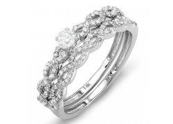 Elegantní zásnubní prsten z bílého zlata s mnoha diamanty, cena: 16 490 Kč