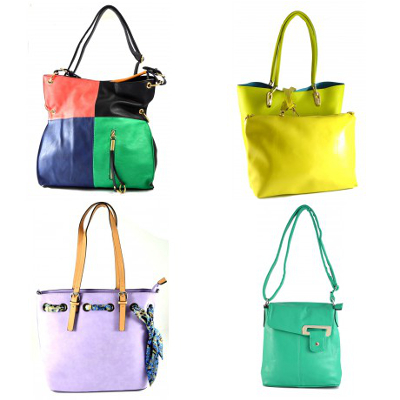 zleva: barevná trendy kabelka (cena: 689 Kč)