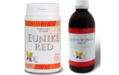 Ŕada pro ženy: Euniké Red a Sirup Queen WOMAN s manganem, vitamínem B6, cholinem a výtažkem z hroznů.