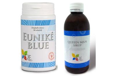 Řada pro muže: Euniké Blue a Sirup Queen MAN se zinkem, cholinem a kyselinou listovou.
