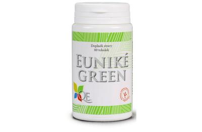 Euniké Green je kombinací betaglukanů a mikronizované české řasy chlorely SP, látek přírodního původu.