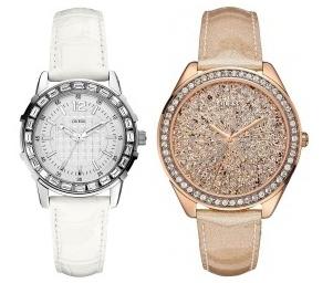 bílé hodinky s kamínky - cena: 2 990 Kč, platinové hodinky s kamínky - cena: 3 490 Kč