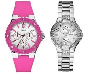 růžové hodinky - cena: 2 150 Kč, sříbrné hodinky - cena: 3 590 Kč