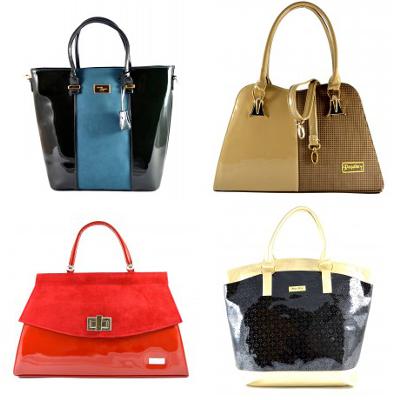 zleva: černo-modrá kabelka (cena: 990 Kč), hnědá značková kabelka do ruky Marline (cena: 1349 Kč), červená lesklá kabelka do ruky Sarrah (cena: 1499 Kč), černo zlatá kabelka Milen (cena: 1249 Kč)