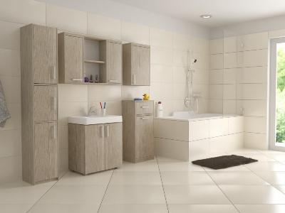 Velmi trendovou záležitostí jsou i koupelnové skříňky v provedení dub sonoma. Zdroj fotografie: dona-shop.cz