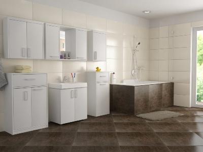 Koupelnové skříňky v bílé barvě vítězí na plné čáře před ostatními odstíny i barvou dřev.