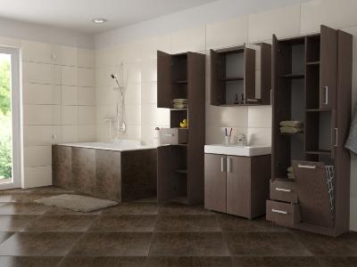 Koupelnové skříňky mohou být různorodé. Záleží na tom, co si můžete dovolit vzhledem k dispozici vaší koupelny. Zdroj fotografie: dona-shop.cz